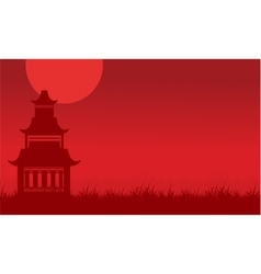 Silhouette of pavilion on red backgrounds vector
