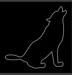 Silhouette of the wolf white color path icon vector