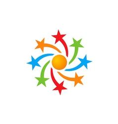 Star circle celebration color logo vector