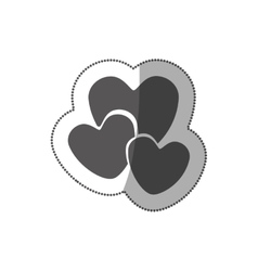 sticker grayscale silhouette with hearts in vector image