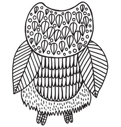 surreal floral owl coloring page vector image vector image