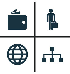 trade icons set collection of earth work man vector image