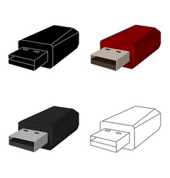 Usb flash drive icon in cartoon style isolated on vector