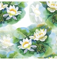 Watercolor white water-lilly flowers seamless vector