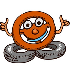 Steering Wheel Mascot vector image