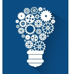 Set gear bulb team work design isolated vector