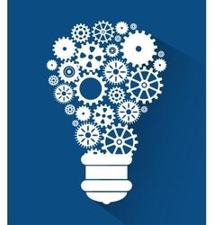 Set gear bulb team work design isolated vector