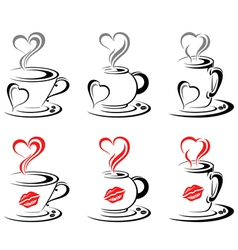 Hot Coffee Mugs Heart vector image