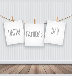 Happy fathers day background with hanging pictures vector