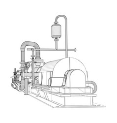 Wire-frame industrial pump vector