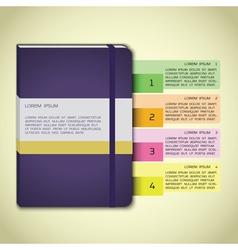 Violet notebook infographics vector