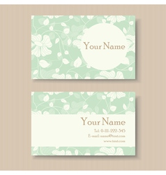 business card with green floral background vector image
