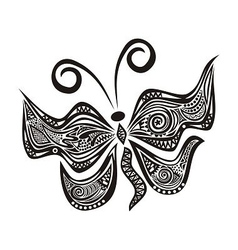 Butterfly pattern black vector image