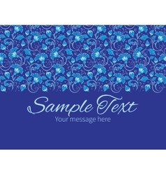 Dark blue turkish floral horizontal border vector