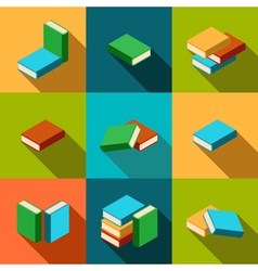 Set of stacks of multi colored books with shadow vector
