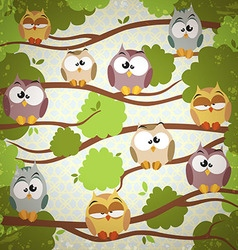 Vintage background with a cute owls vector
