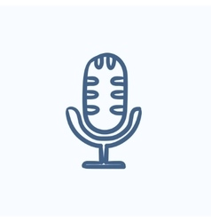 Retro microphone sketch icon vector