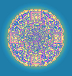 abstract mandala ornament on blue background vector image
