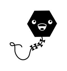 Beautiful kite flying kawaii character vector