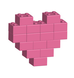 Building bricks in 3d pink heart vector