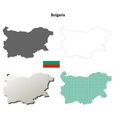 Bulgaria outline map set vector image
