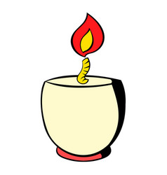 Candle in a candlestick icon icon cartoon vector