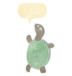 cartoon happy turtle with speech bubble vector image vector image
