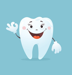 cartoon tooth smiling vector image