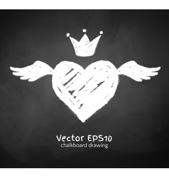 Chalk drawn heart with wing vector image vector image