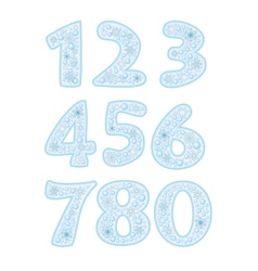 Christmas font with snowflakes vector image