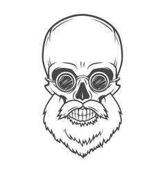 Evil bearded jolly roger with glasses logo vector