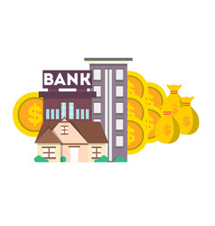 financial investment banner with bank building vector image