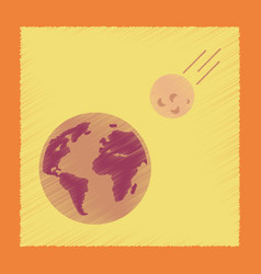flat shading style icon meteorite earth vector image vector image