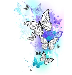 Flying butterflies watercolor vector