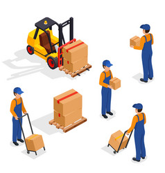 Forklift truck with delivery workers isolated on vector