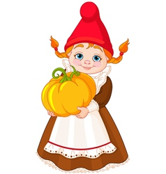 Garden Gnome with pumpkin vector image