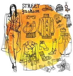 Girl and street fashion clothing setsketchy in vector