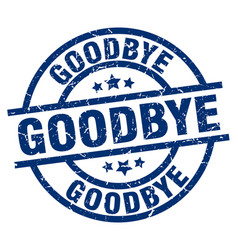 Goodbye blue round grunge stamp vector