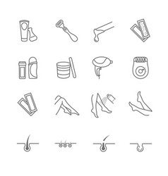 hair removal tools icons set vector image
