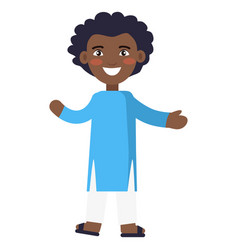 happy little afro-american boy in national cloth vector image vector image