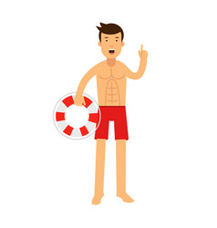 Lifeguard man character on duty standing with vector