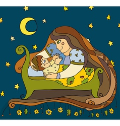 Mother Son Night vector image vector image