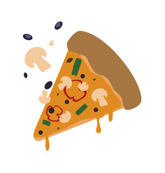 pizza slice mushrooms cheese vector image