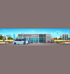 Purchase sale or rental center seller man giving vector