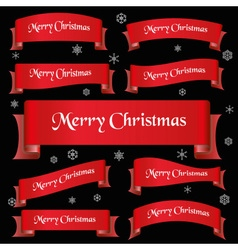 Red merry christmas slogan curved ribbon banners vector