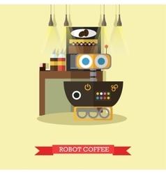 robot coffee flat design vector image