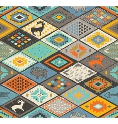 Seamless navajo pattern with rhombus pencil vector