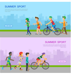 Summer sport web banner in flat design vector