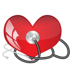 Medical stethoscope and heart vector