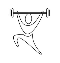 contour pictogram man weightlifting icon vector image